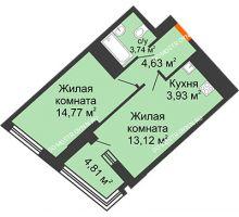 1 комнатная квартира 42,14 м² в ЖК Дом на Набережной, дом № 1 - планировка