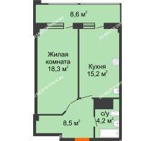 1 комнатная квартира 50,5 м² в ЖК Квартет, дом № 3 - планировка