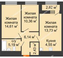 2 комнатная квартира 58,32 м² в ЖК Дом на Набережной, дом № 1 - планировка