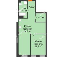 1 комнатная квартира 71,57 м² в ЖК Георгиевский, дом 6 - планировка