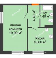 1 комнатная квартира 39,3 м² в ЖК Куйбышев, дом № 3 - планировка