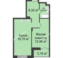 1 комнатная квартира 45,01 м² в ЖК Клевер, дом № 1