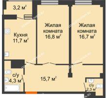 2 комнатная квартира 69,1 м² в ЖК Квартет, дом № 3 - планировка