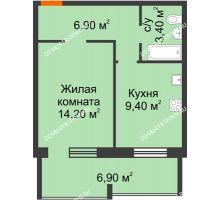1 комнатная квартира 37,3 м² в ЖК Удачный 2, дом № 1 - планировка