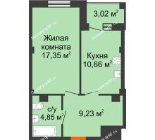 1 комнатная квартира 43,6 м² в Жилой район Берендей, дом № 14 - планировка