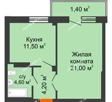 1 комнатная квартира 42,9 м², ЖК GEO (ГЕО) - планировка
