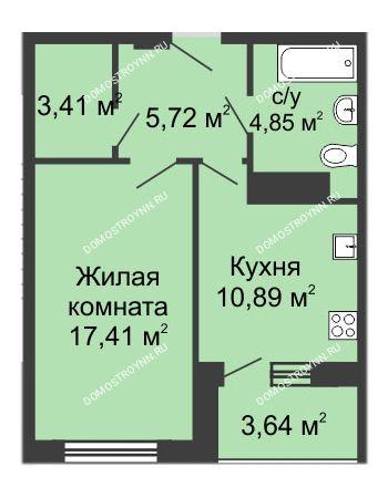 1 комнатная квартира 43,4 м² в ЖК Облака, дом № 1