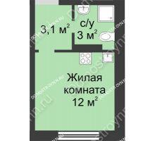Студия 18,1 м² в ЖК Мега, дом № 2 - планировка