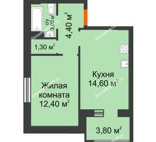 1 комнатная квартира 37,7 м² в Микрорайон Прибрежный, дом № 8 - планировка