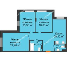 3 комнатная квартира 91,83 м², ЖК Шаляпин - планировка