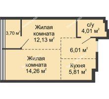 2 комнатная квартира 45,92 м², ЖК Белый Ангел - планировка