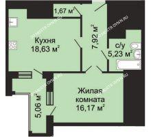 1 комнатная квартира 52,15 м², ЖК Гелиос - планировка
