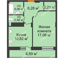 1 комнатная квартира 46,36 м² в ЖК Облака, дом № 2