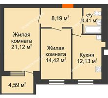2 комнатная квартира 62,56 м² в ЖК Свобода, дом 2 очередь