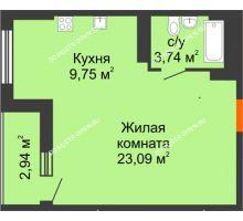 Студия 38,05 м², ЖК Орбита - планировка