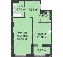 1 комнатная квартира 45,27 м² в ЖК Караваиха, дом № 5 - планировка
