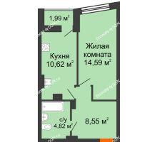 1 комнатная квартира 39,58 м² в ЖК Рубин, дом Литер 1 - планировка