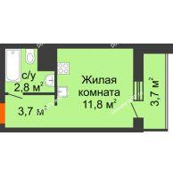 Студия 21,7 м², ЖК Космолет - планировка