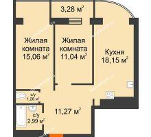 2 комнатная квартира 63 м², ЖК Адмирал - планировка