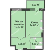 1 комнатная квартира 43,2 м² в ЖК Времена Года, дом № 1