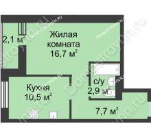 1 комнатная квартира 39,9 м², ЖК Дом на Иванова - планировка