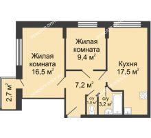 2 комнатная квартира 55,61 м² в ЖК Цветы, дом № 10 - планировка