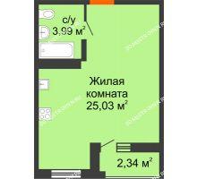 Студия 30,2 м² в ЖК Академический, дом № 11 - планировка