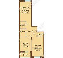 2 комнатная квартира 77 м² в ЖК Монолит, дом № 89, корп. 1, 2 - планировка
