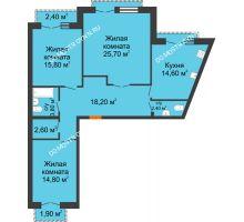 3 комнатная квартира 100,05 м², Жилой дом: г. Дзержинск, ул. Кирова, д.12 - планировка
